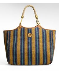 Tory Burch | Blue Mexican Stripe Channing Tote | Lyst