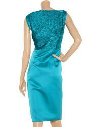 Valentino Blue Pleated Silk Satin Dress