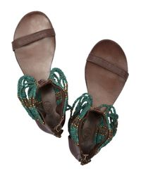 Ash Molly - Brown Leather Beaded Thong Sandal