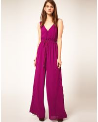 ASOS Collection - Purple Asos Jumpsuit with Rope Tie - Lyst