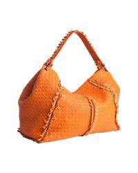 Bottega Veneta | Orange Fire Opal Intrecciato Leather Frayed Shoulder Bag | Lyst