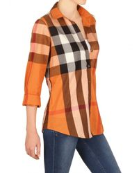 Burberry Brit - Orange Giant Exploded Check Cotton Voile Shirt - Lyst