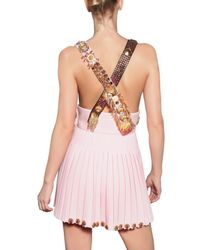 Fausto Puglisi | Pink Embroidered Wool Crepe Dress | Lyst