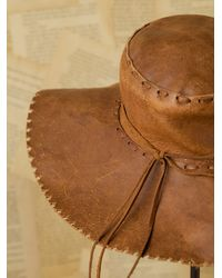 Free People - Brown Vintage Leather Sun Hat - Lyst