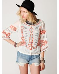 Free People - White Embroidered Banded Top - Lyst