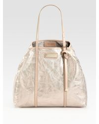 Jimmy Choo | White Sasha Mirror Leather Tote Bag | Lyst
