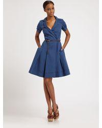 Lavia18 | Blue A-line Stretch Cotton Dress | Lyst