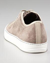 Lanvin - Brown Patent-toe Suede Sneaker, Beige - Lyst