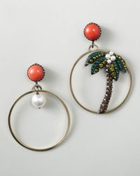 Lanvin - Metallic Palm Tree Hoop Earrings - Lyst