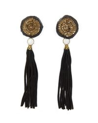 Mango | Black Tassel Long Earrings | Lyst