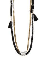 Mango - Black Tassel Necklace - Lyst