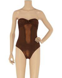 Melissa Odabash Brown Sienna Metallic Bandeau Swimsuit