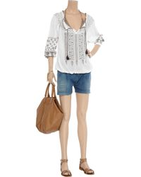 Melissa Odabash - Blue Phoebe Embroidered Cotton Top - Lyst