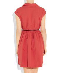 Miu Miu | Red Belted Cotton And Linen-Blend Shirt Dress | Lyst