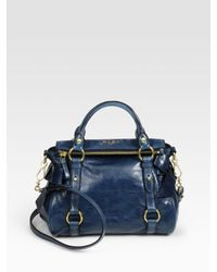 Miu Miu | Blue Vitello Lux Mini Bow Bag | Lyst