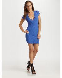 Nightcap | Blue Victorian Semi-sheer Lace V-neck Dress | Lyst