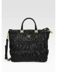 Prada | Black Ruched Nappa Leather Tote Bag | Lyst