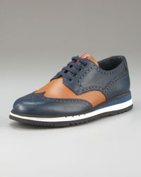 Prada | Blue Bi-color Oxford with Colored Micro Sole | Lyst