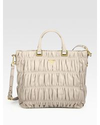 Prada | Black Ruched Nappa Leather Tote Bag | Lyst