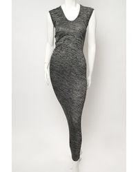 T By Alexander Wang | Black Marled Drape-back Muscle Maxi Dress | Lyst