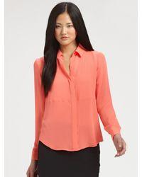 Theory | Black Durlia Silk Button-down Shirt | Lyst