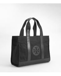 Tory Burch | Black Canvas Tory Tote | Lyst