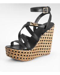 Tory Burch | Black Dalcin Wicker & Leather Platform Wedge Sandals | Lyst