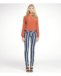 Tory Burch - Blue Mid-rise Striped Skinny Jeans - Lyst