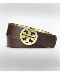 "Tory Burch | Metallic 1 1/2"" Reversible Classic Tory Logo Belt | Lyst"