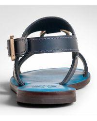 Tory Burch - Blue Fletcher Flat Sandal - Lyst