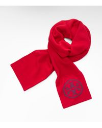 Tory Burch | Red Logo Knit Scarf | Lyst