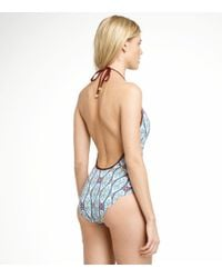 Tory Burch | Blue Print Plunge-front One-piece Swimsuit | Lyst
