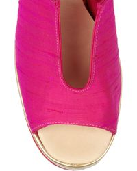 Acne Studios - Pink Audrey Silk and Metallic Leather Mules - Lyst