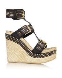 Alexander McQueen - Black Studded Leather Wedge Sandals - Lyst