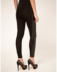 ASOS Collection | Black Asos Leggings with Pu Panel | Lyst