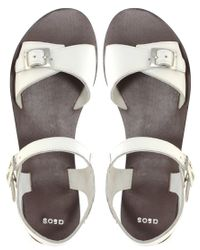 ASOS Collection | White Asos Flutter Flat Leather Sandals with Buckle Detail | Lyst