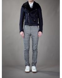 Burberry | Blue Biker Style Jacket for Men | Lyst
