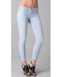 Current/Elliott Blue The Stiletto Leopard-print Low-rise Skinny Jeans