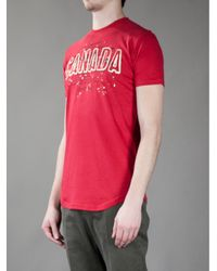 DSquared² Red Canada Printed T-shirt for men