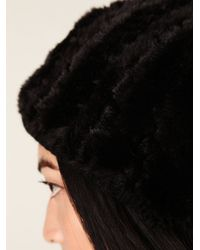 Free People | Black Serbian Fur Beanie | Lyst