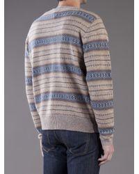 Gant Rugger Brown Fair Isle Sweater for men