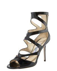 Jimmy Choo | Natural Patent Zigzag Anklewrap Sandal | Lyst