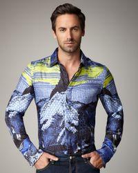 Just Cavalli | Blue Japan-print Silk Shirt for Men | Lyst