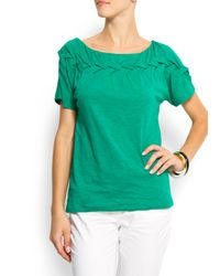 Mango | Green Braid Details T-shirt | Lyst