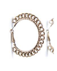 Mango - Metallic Chain Hoop Earrings - Lyst