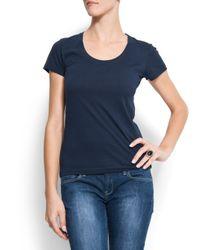 Mango | Blue Cotton Basic T-shirt | Lyst