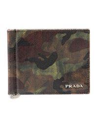 Prada | Green Camo Wallet with Money Clip for Men | Lyst