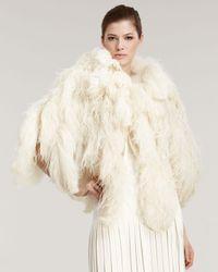 Ralph Lauren | Natural Abigail Ostrich Feather Capelet | Lyst