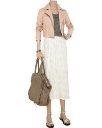 Sara Berman Pink Bernie Studded Cropped Leather Jacket