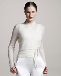 The Row - White Angela Ballet Wrap Sweater - Lyst
